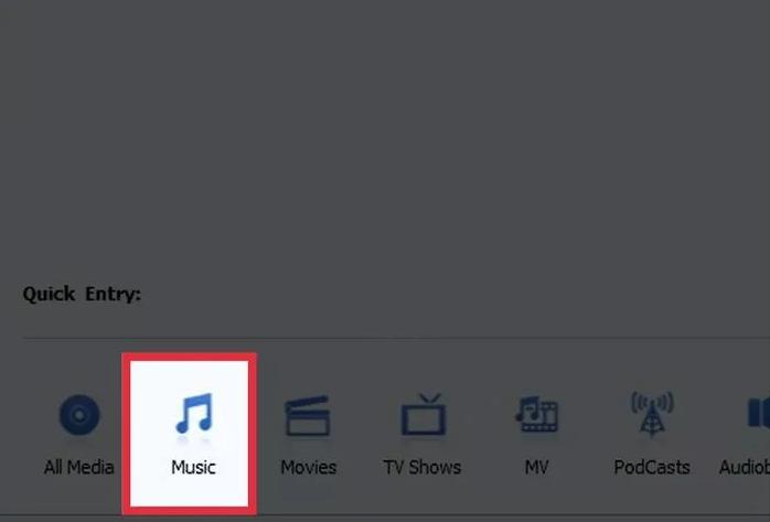 "Click the ""Music"" button"