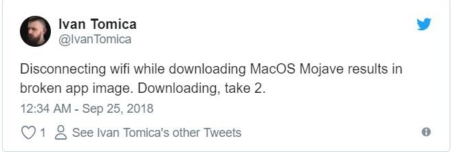 macOS Mojave download problem tweet