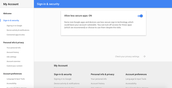 Turn Access On for Less Secure Apps