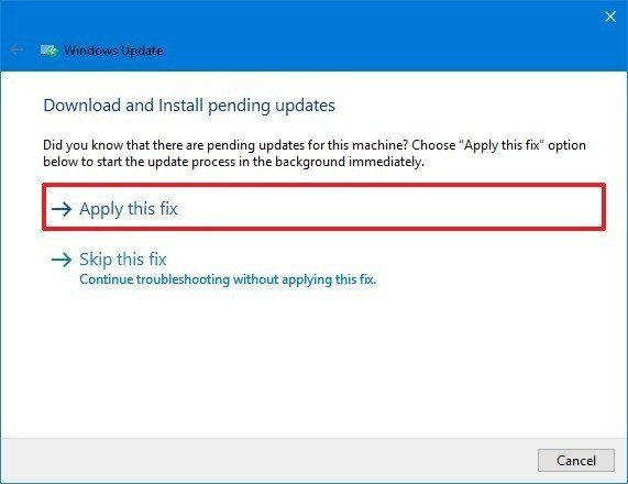 Click the 'Apply this fix' option - windows 10 may 2019 update