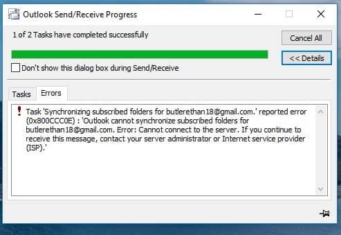 Outlook Error 0x800ccc0e - YouTube
